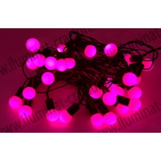 Instalatie Roz Globulete 4M LED sir fir negru - interior