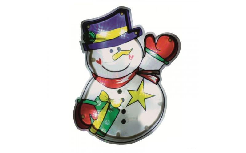 Decor pentru fereastră cu LED, om de zăpadă, 21 cm, 4,5V KID 312